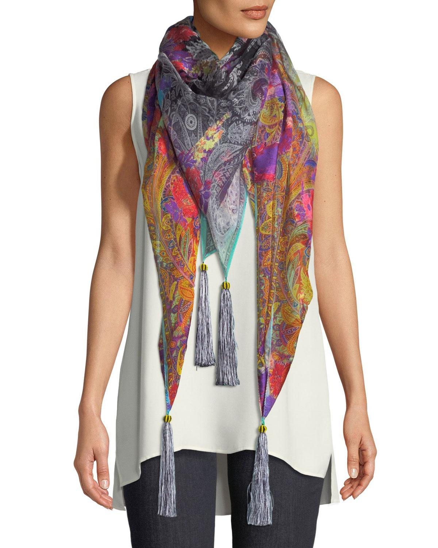 Black silk blend embroidered foulard Etro OWjzfpLrFa