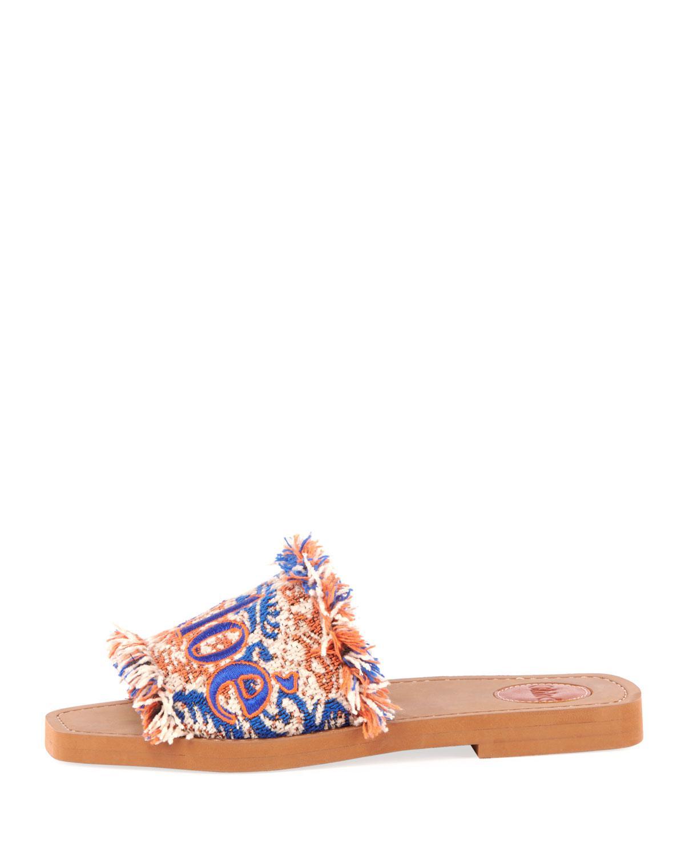 b77bdf016 Lyst - Chloé Woody Flat Fringed Slide Sandals in Blue