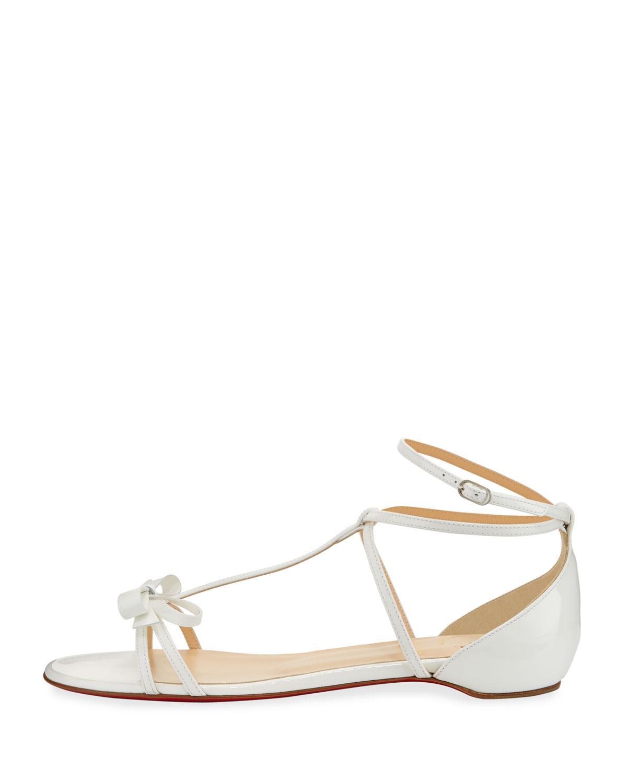 503b9c3fde87 Lyst - Christian Louboutin Blakissima Patent Bow Flat Red Sole Sandal