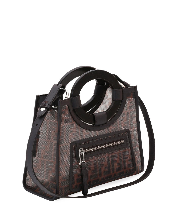 d9478a410eca Fendi Runaway Small Mesh Ff Shopping Tote Bag in Black - Lyst