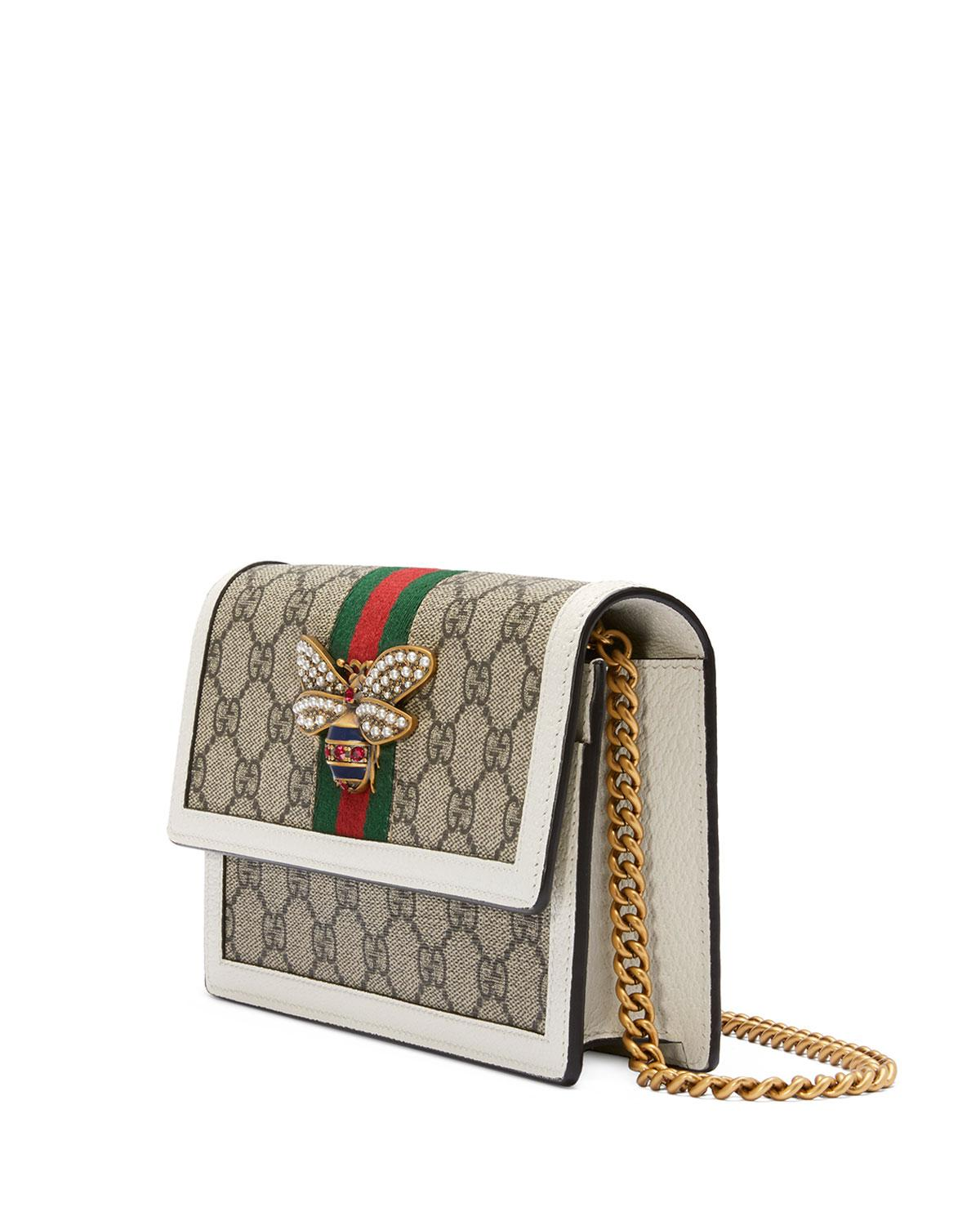 1673f48b9fb4 Gucci Queen Margaret GG Supreme Wallet On Chain - Lyst