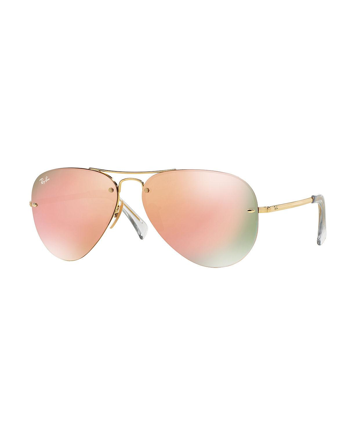 3d2f6139af Lyst - Ray-Ban Rimless Mirrored Iridescent Aviator Sunglasses in Brown