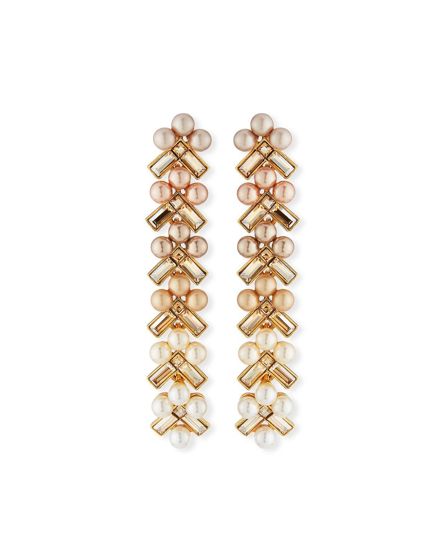 Oscar De La Renta Pearly Baguette Drop Earrings bXkQGL3