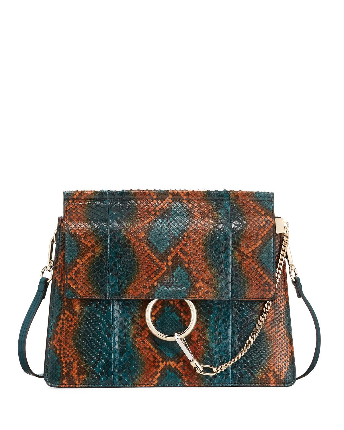 bd88f1d1930 Lyst - Chloé Faye Medium Python Shoulder Bag in Blue