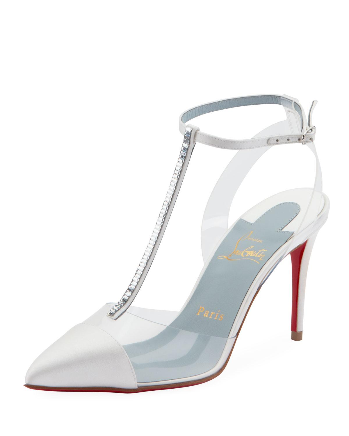 7855ccde080 Lyst - Christian Louboutin Nosy Strass T-strap Red Sole Pumps in White