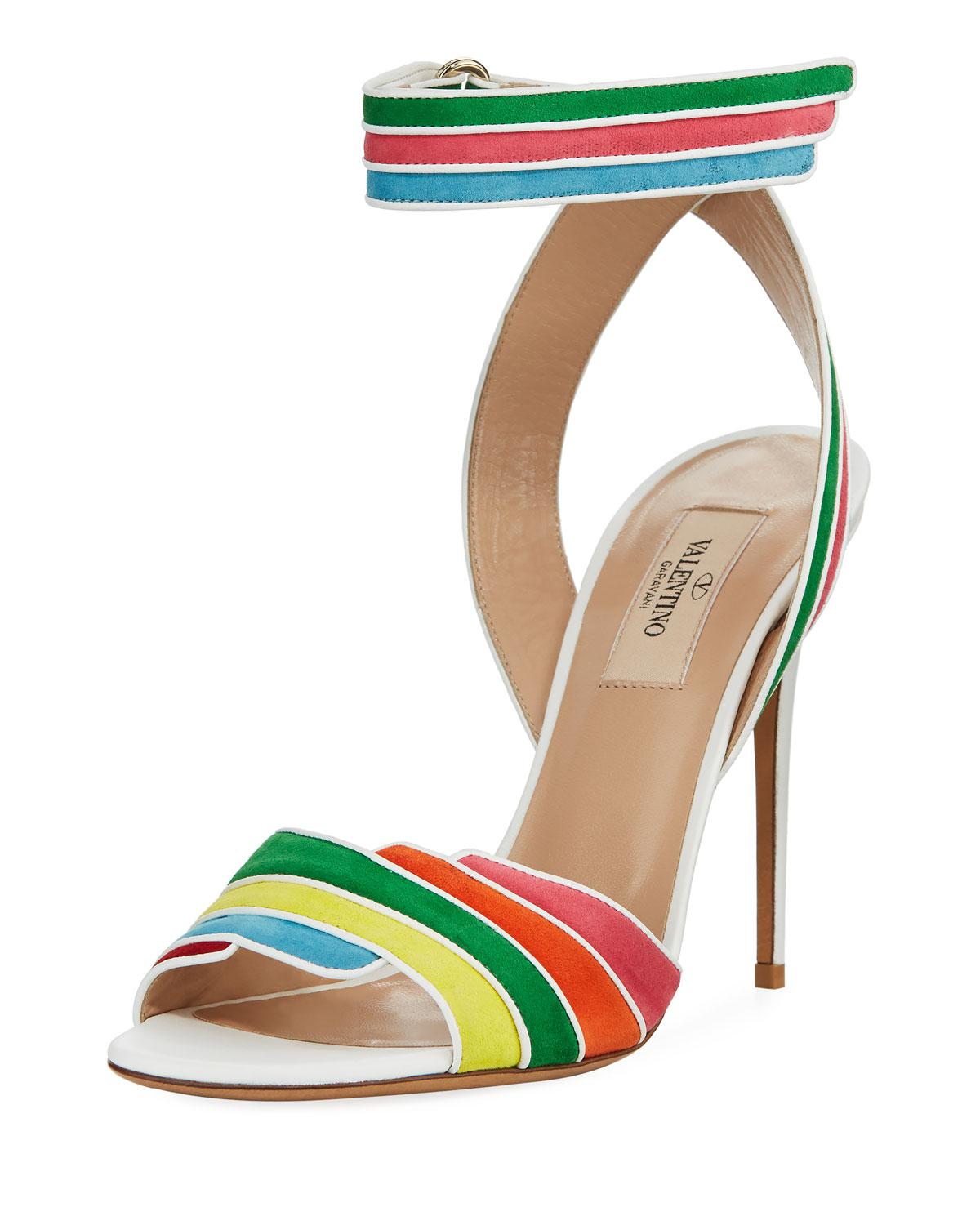 Rainbow Sandals with Ankle Strap in Multi Suede and Nappa Leathers Valentino 2O84yuZl