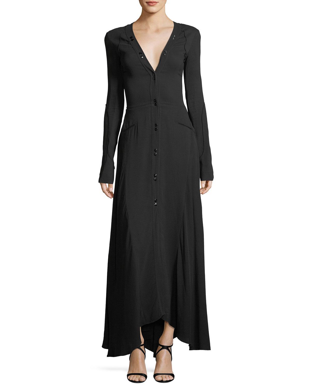 3d1575e85 Nina Ricci Long-sleeve Button-down Cady Maxi Dress in Black - Lyst