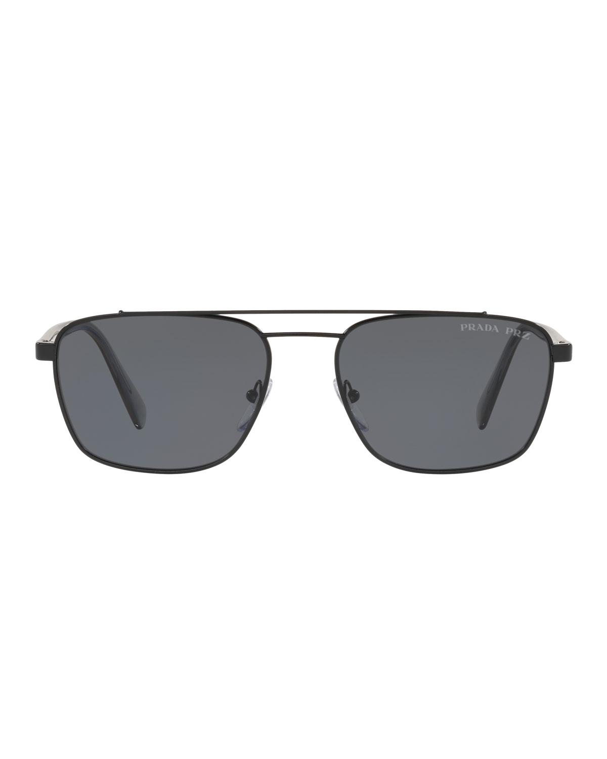 fd86f2a07ee8 Lyst - Prada Men s Square Metal Aviator Sunglasses - Solid Lenses ...