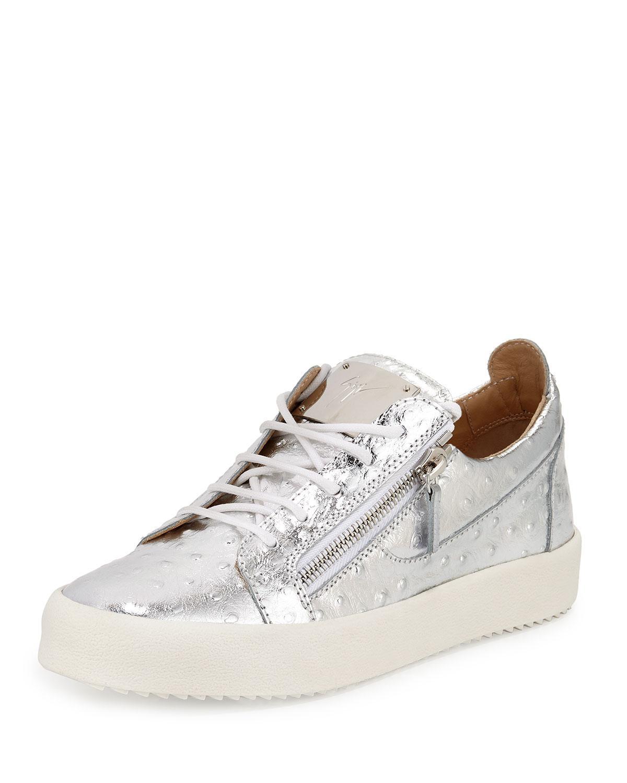Giuseppe Zanotti Sneaker MAY Glattleder Metallisch silber wei? CO6GEfO6iN