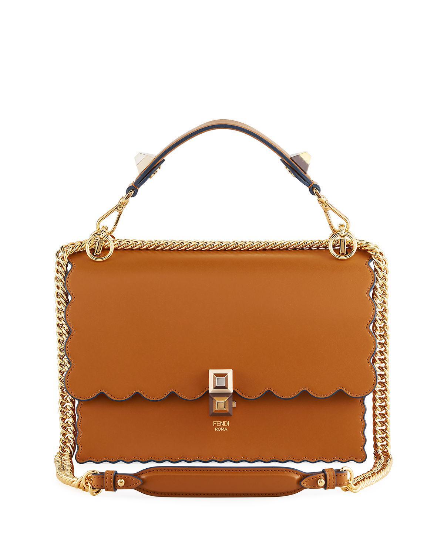 898b0f244c ... new zealand fendi. womens brown kan i regular leather scalloped shoulder  bag b7dfe 574a3 ...
