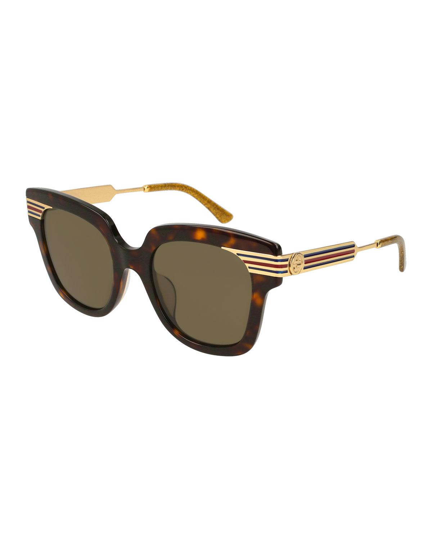 f0727f9b3dd Lyst - Gucci Metal   Acetate Square Sylvie Web Sunglasses in Brown