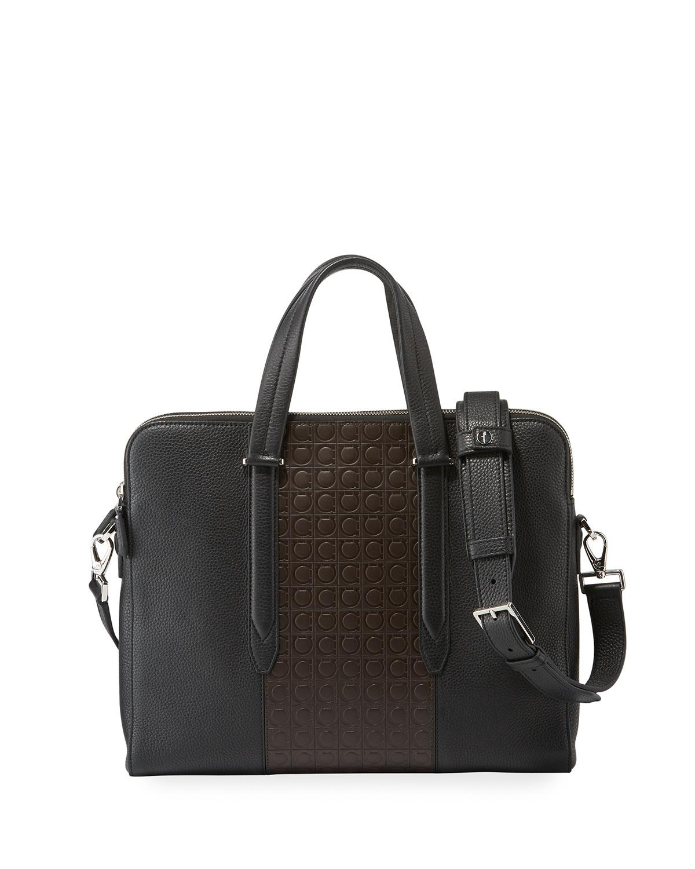Lyst - Ferragamo Men s Firenze Gamma Textured Briefcase in Black for Men 332ad8da63d7c