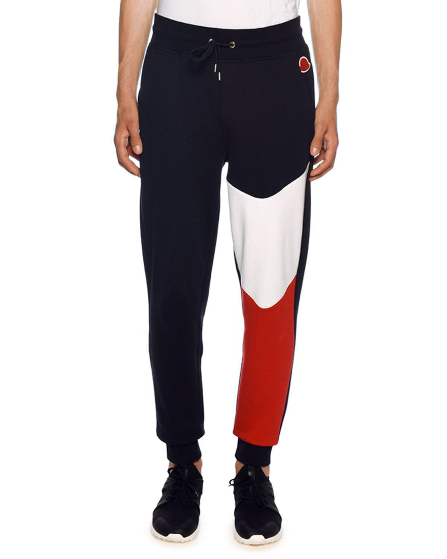 203d1f423003 Lyst - Moncler Colorblock Sweatpants in Blue for Men