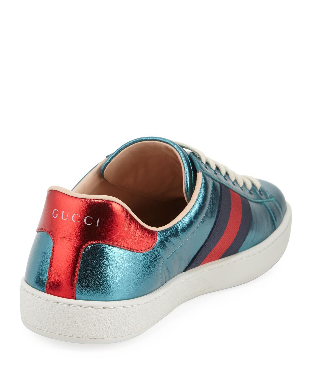 df04c1d09c1 Lyst - Gucci Ace Metallic Leather Sneaker