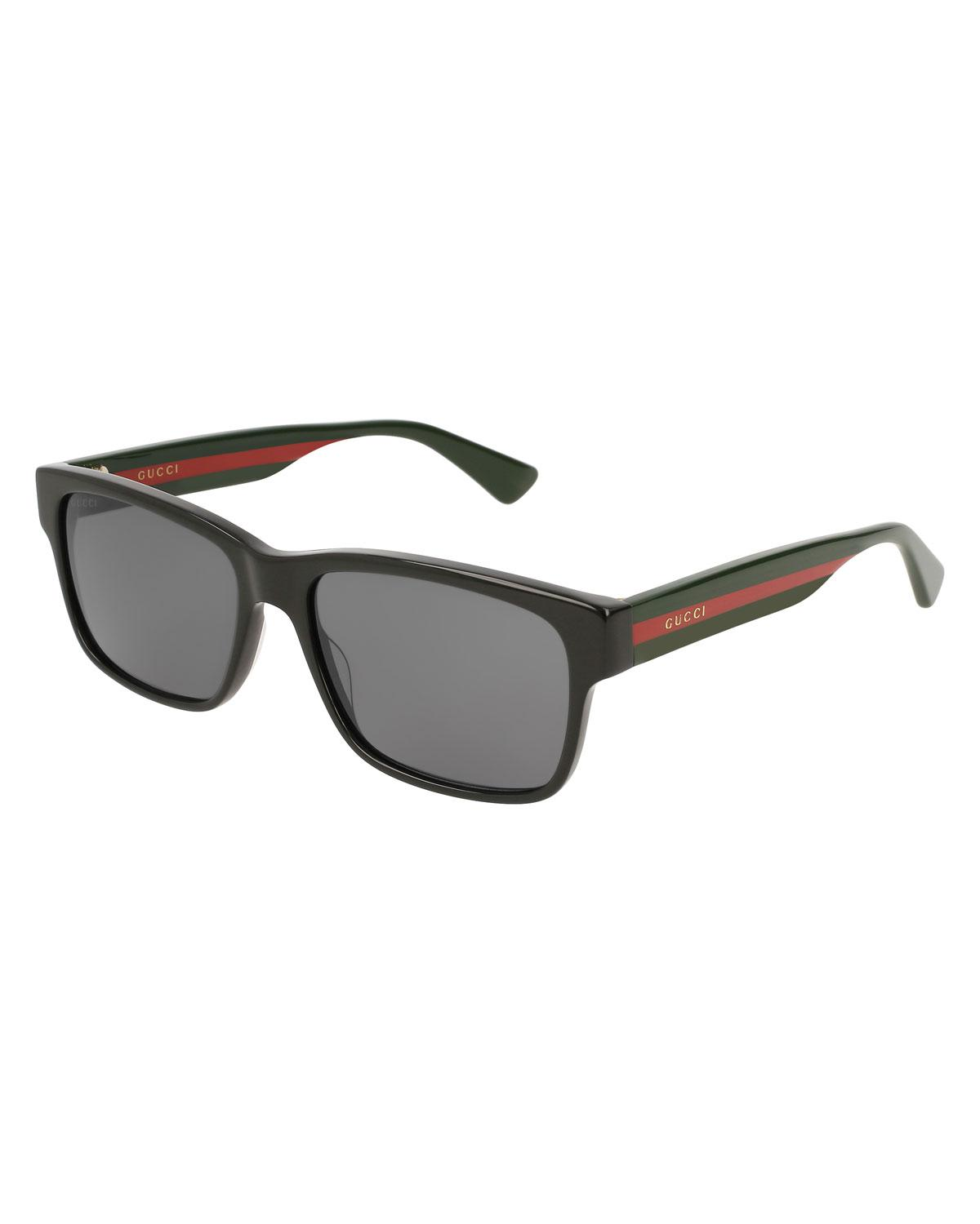 3b93a6111c4 Gucci - Black Square Acetate Sunglasses With Signature Web for Men - Lyst.  View fullscreen