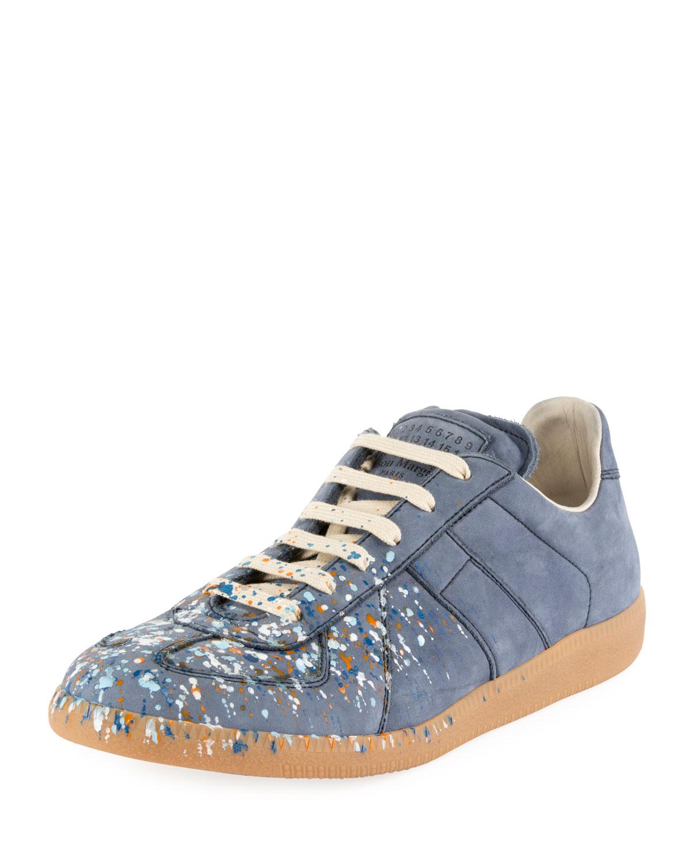 e2b0a6e54ad6 Maison Margiela. Women s Blue Men s Replica Paint-splatter Suede Low-top  Sneakers