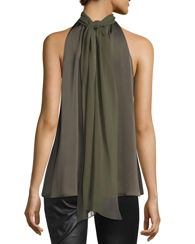 a1c921dbc8205 Lyst - Diane von Furstenberg Sleeveless High-neck Blouse in Green