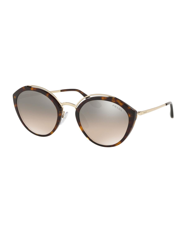 010f77ad2b Prada - White Round Mirrored Acetate   Metal Sunglasses - Lyst. View  fullscreen