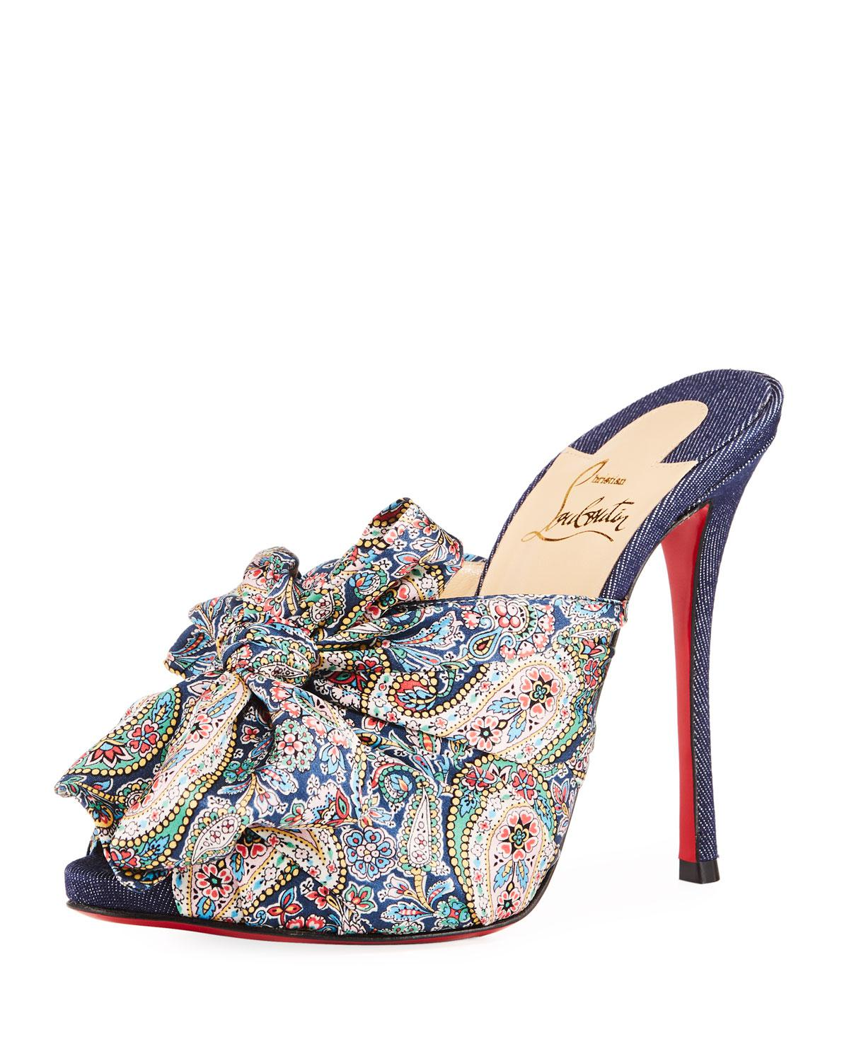 Moniquissima 120 paisley satin and denim mules Christian Louboutin Outlet Store o6cWJP