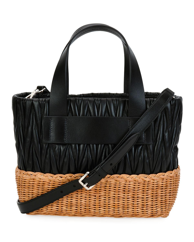 Lyst - Miu Miu Matelasse Leather   Wicker Tote Bag in Black 7d7e8905ad476