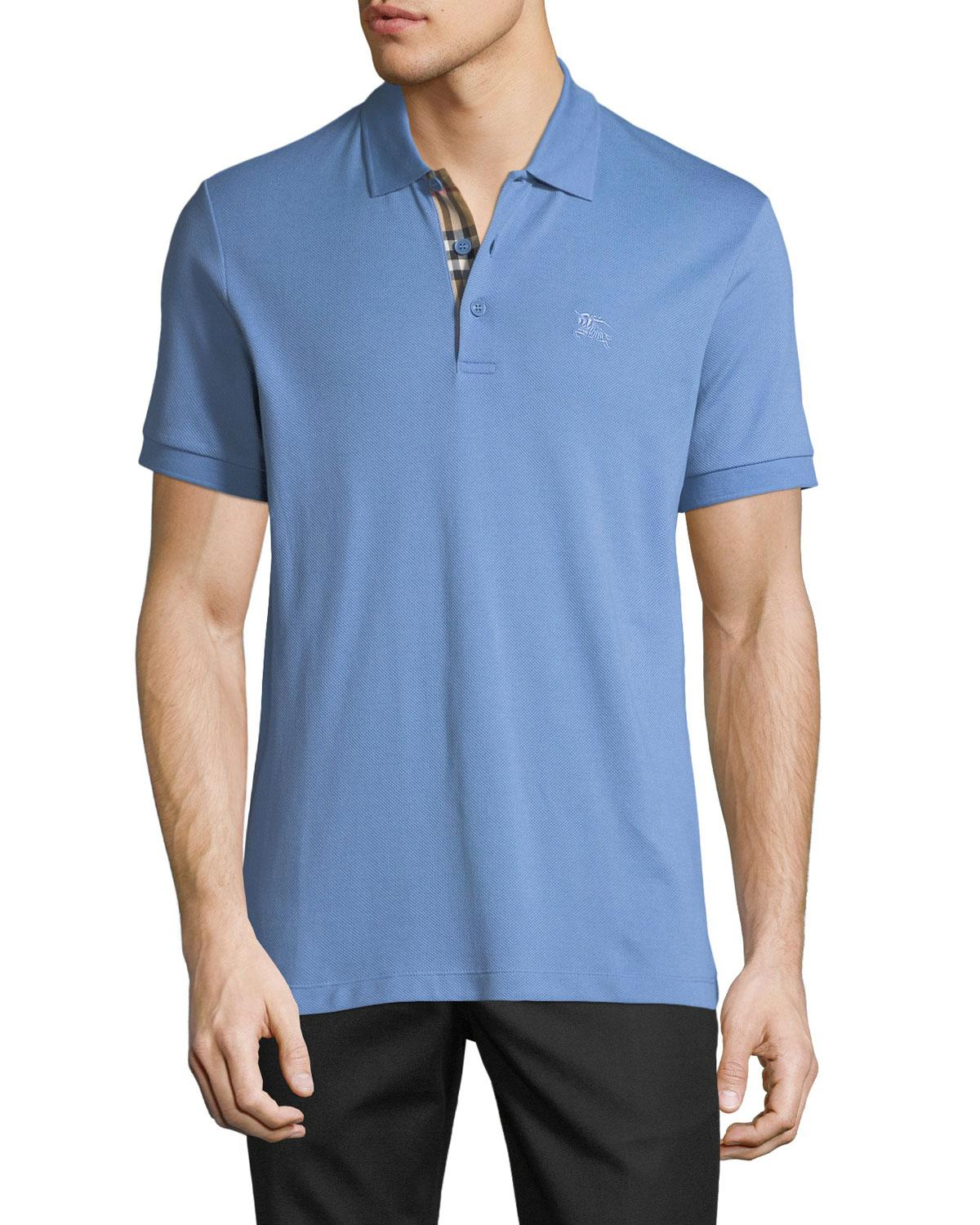 49920d0a Burberry Men's Hartford Check-facing Polo Shirt in Blue for Men - Lyst