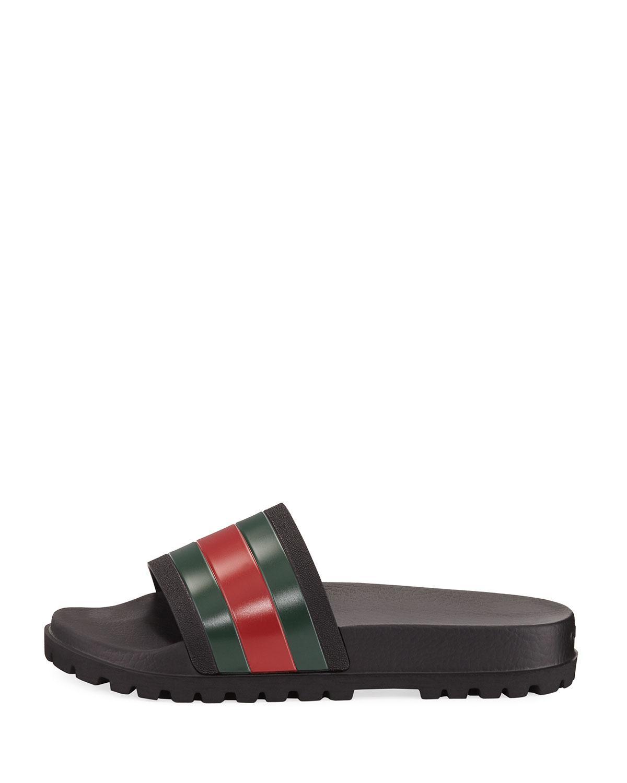 7ffc2e9b428 Lyst - Gucci Pursuit Trek Web Slide Sandal in White for Men