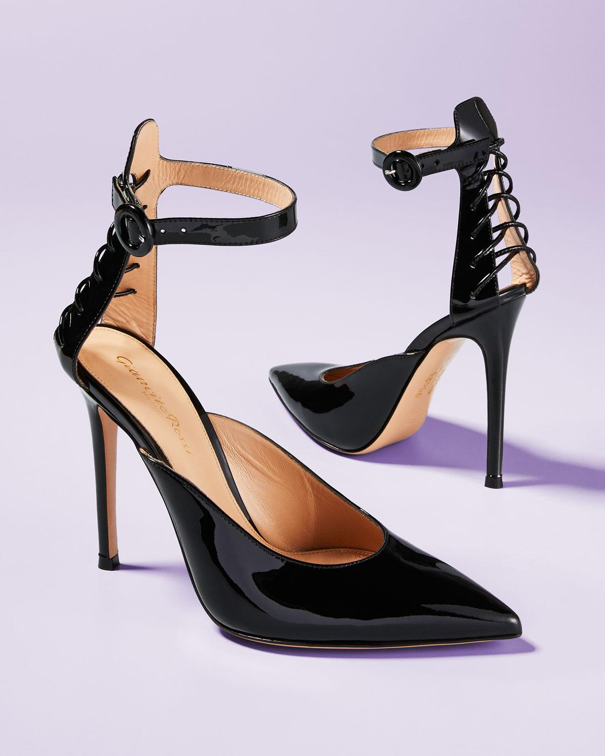 421dad458e1 Lyst - Gianvito Rossi Patent Leather Ankle-strap Pumps in Black - Save 55%
