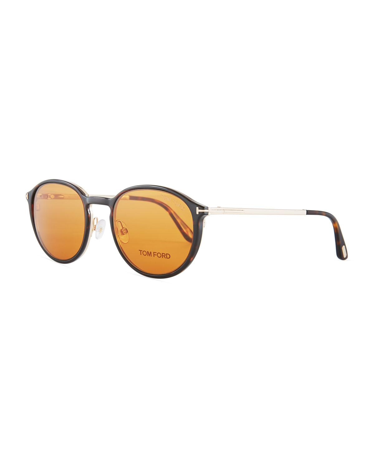 774317afdba Tom Ford - Metallic Round Optical Glasses W  Magnetic Clip On - Lyst. View  fullscreen