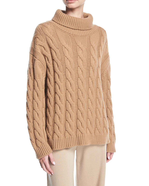 Mansur gavriel Cable-knit Cashmere Turtleneck Sweater in Natural ...