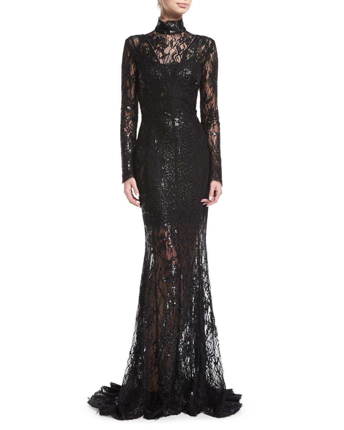 Lyst - J. Mendel Long-sleeve Sequined Lace Turtleneck Gown in Black