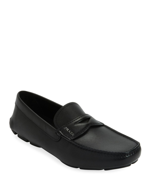 7773cb9ca57 Prada - Black Men s Saffiano Leather Driver Shoes for Men - Lyst. View  fullscreen