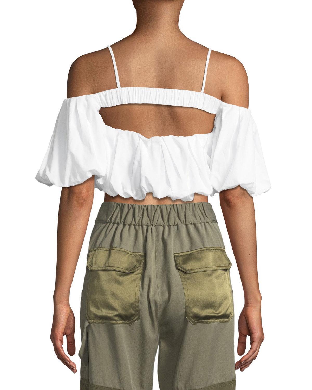 8e1c3139ec45a Lyst - 3.1 Phillip Lim Off-the-shoulder Short-sleeve Cotton Crop Top in  White