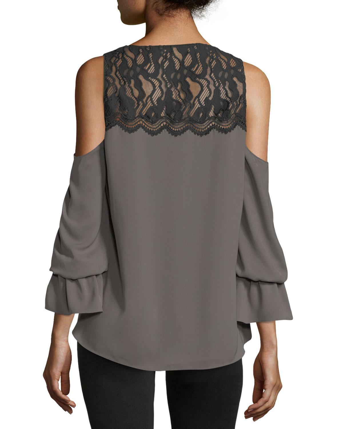 01ef68094f8a7 Lyst - Ramy Brook Abigail V-neck Cold-shoulder Georgette Top W  Lace ...
