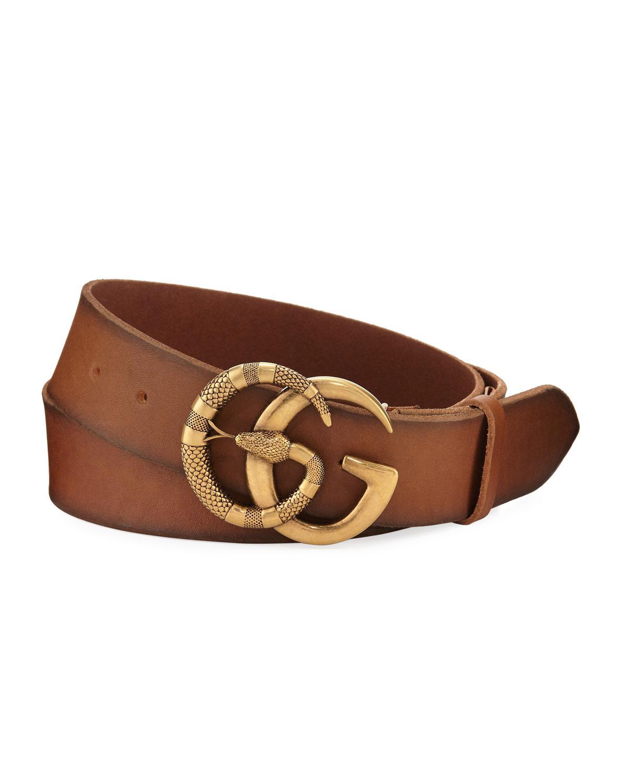 21dfdb3303b Gucci. Men s Brown Cuoio Toscano Snake GG Belt.  870 From Bergdorf Goodman