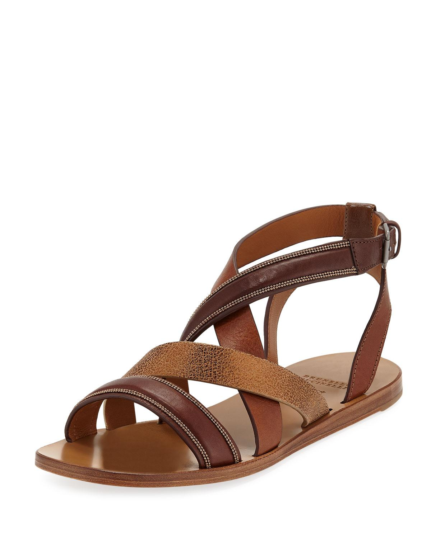 97fa15673f5 Lyst - Brunello Cucinelli Flat Multi-strap Leather Sandals in Brown