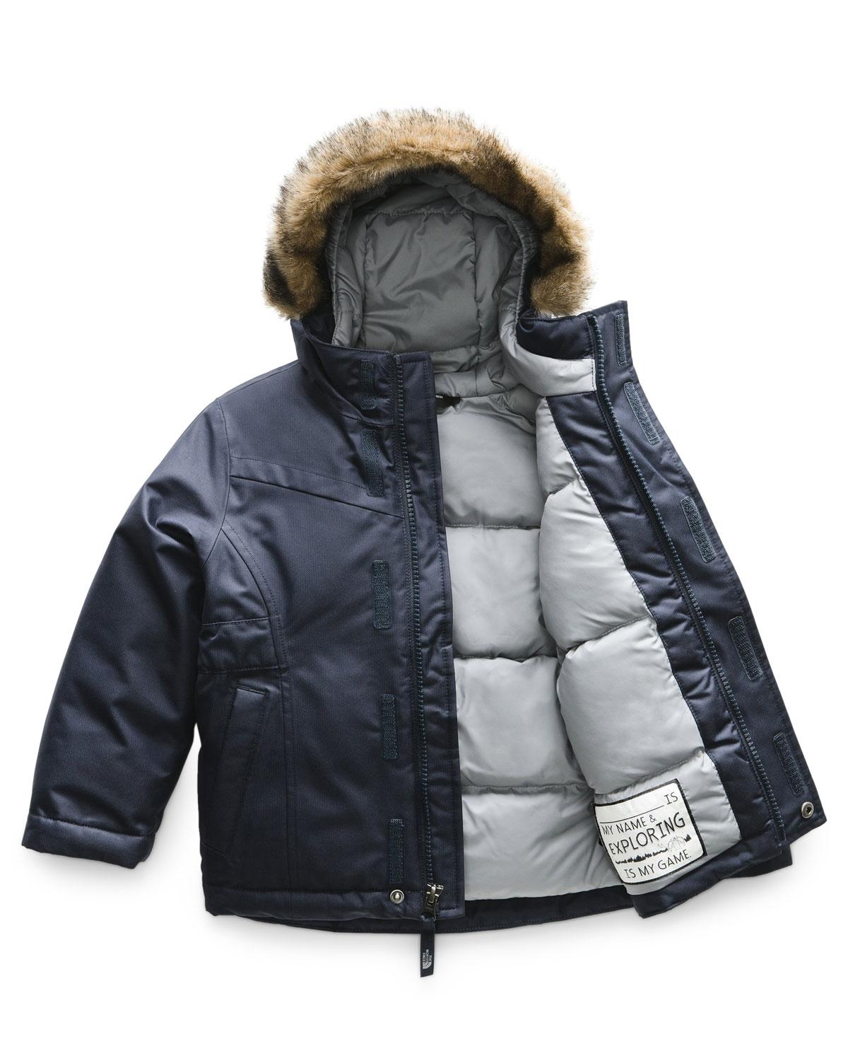 9ad72106b4 Lyst - The North Face Greenland Down Hooded Jacket W  Faux-fur Trim in Blue