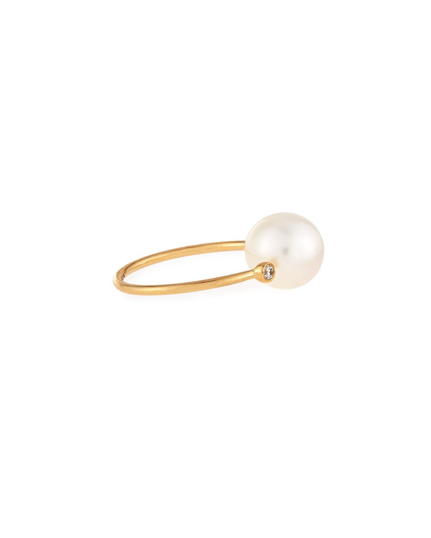 Mizuki 14K Gold Open Diamond & Pearl Ring zsZDBNndq