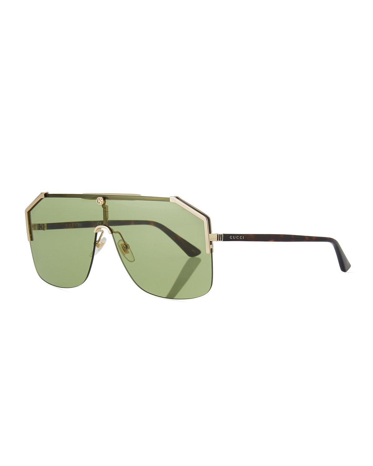 1ade56b43f9 Lyst - Gucci Geometric Metal Shield Sunglasses for Men