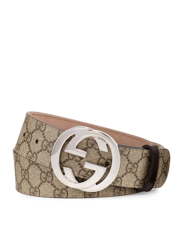 068cdc902 Gucci GG Supreme Belt W/interlocking G in Natural - Lyst