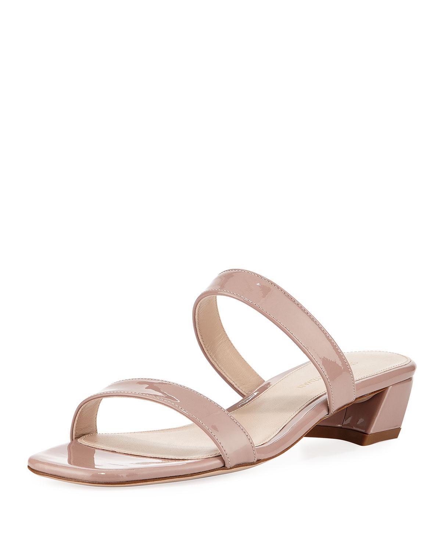 c6a74b7fb792 Lyst - Stuart Weitzman Ava Patent Low-heel Slide Sandals