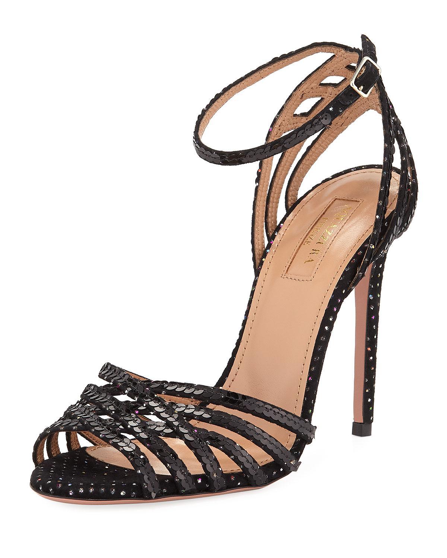 134b91f30995 Lyst - Aquazzura Studio Sequin Sandals With Ankle Strap Velvet in Black