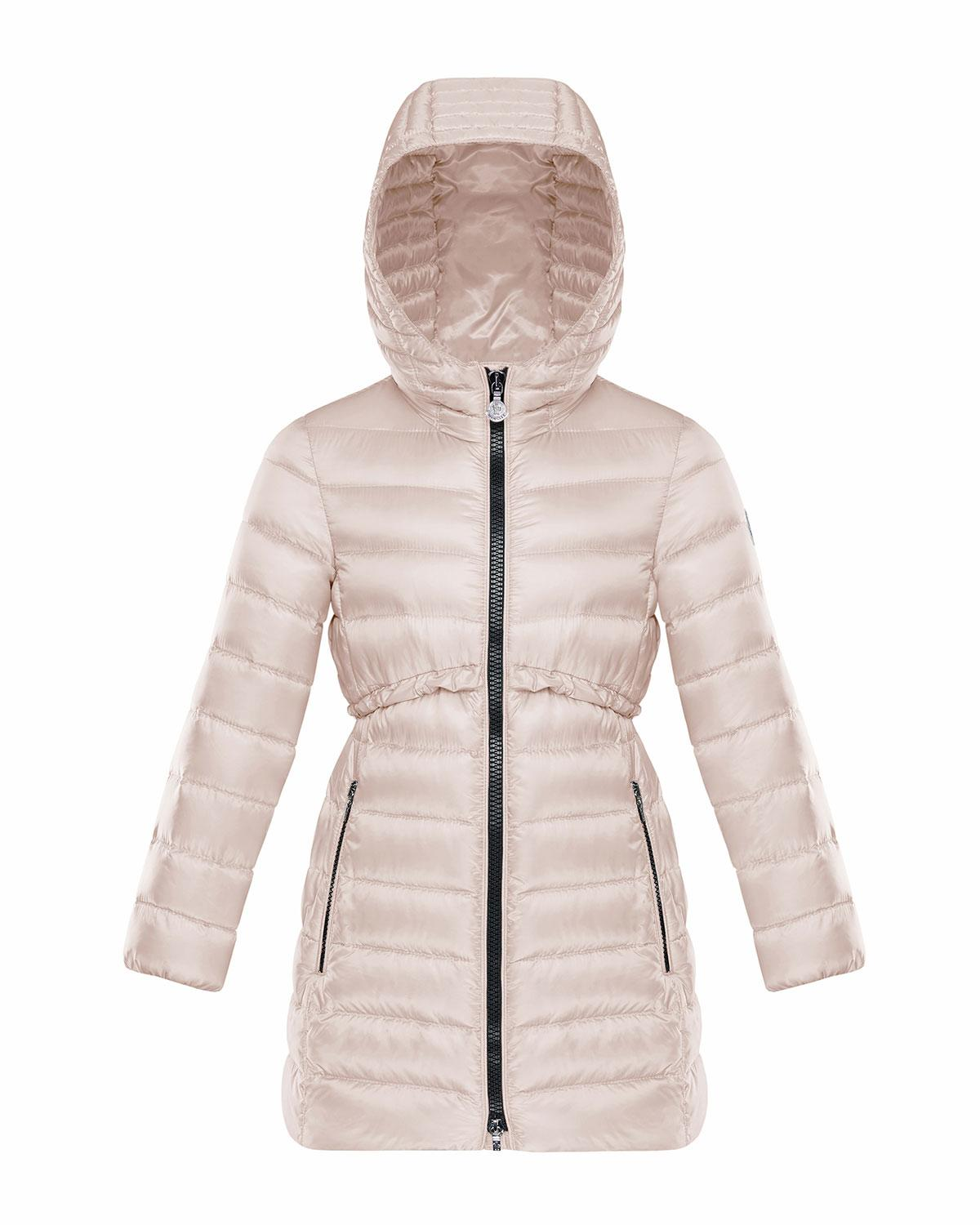 5415df565 Lyst - Moncler Quilted Ruffle-trim Hooded Jacket in Natural