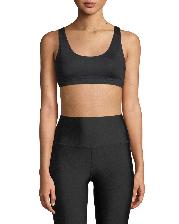 e3d0d244ea Lyst - Alo Yoga Ambient Low-impact Scoop-neck Sports Bra in Black