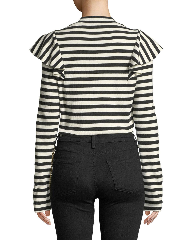 ecc231138c Veronica Beard Dawson Striped Ruffle Long-sleeve Tee in Black - Save 25% -  Lyst