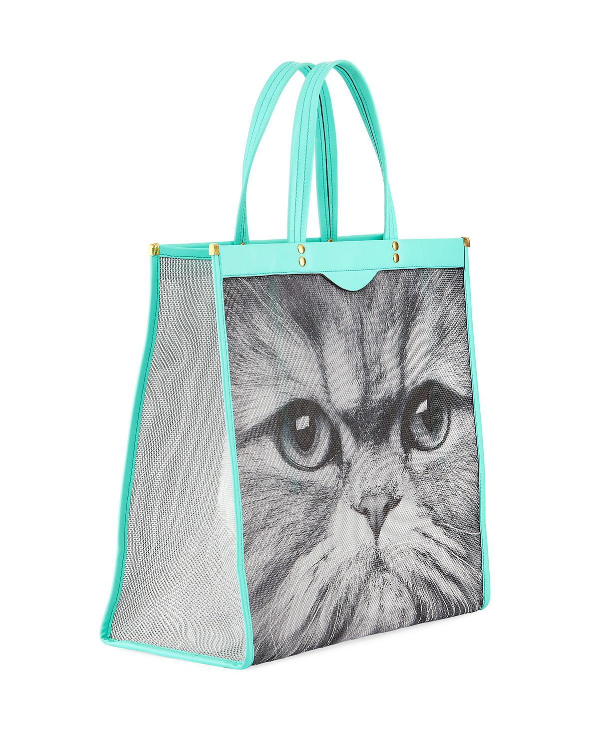 turquoise Kitsch Cat mesh and leather tote bag - Grey Anya Hindmarch 6dXRm1Q