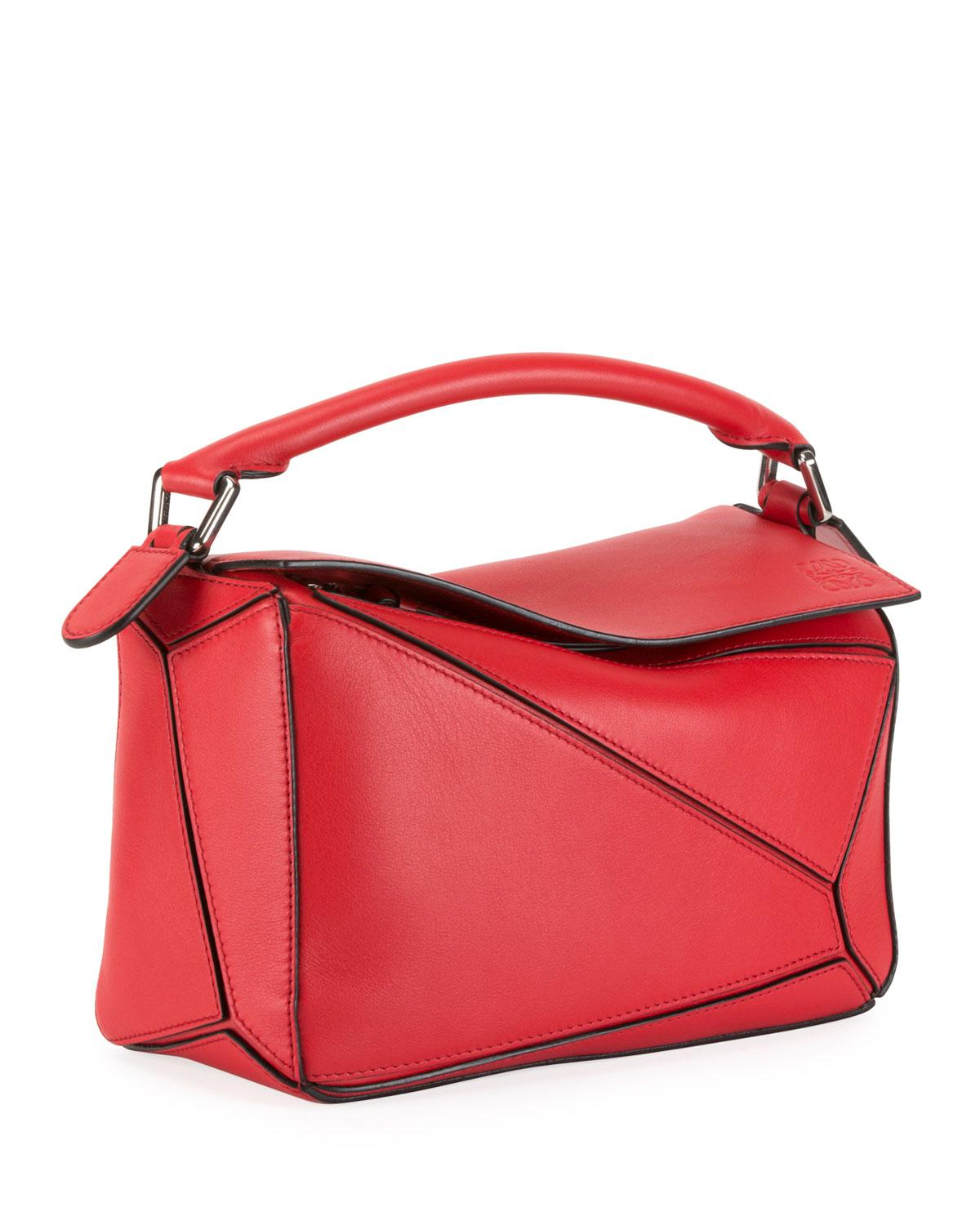 Lyst - Loewe Puzzle Mini Textured-leather Shoulder Bag in Red - Save 22% 185aac365f25e