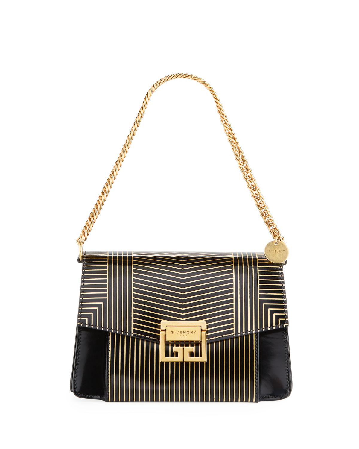 547deb3c2d Lyst - Givenchy Gv3 Small Striped Leather Satchel Bag in Black ...