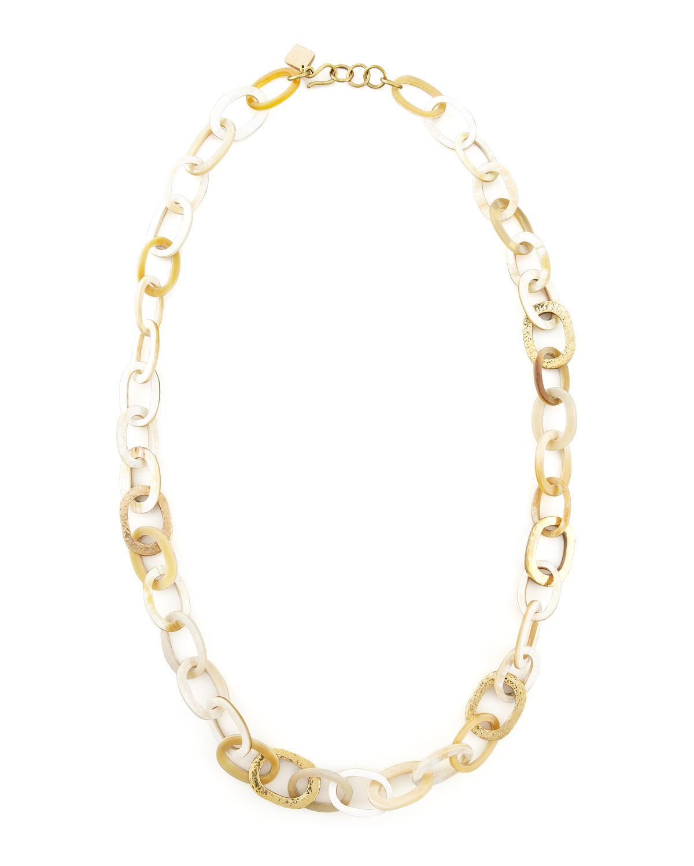 Ashley Pittman Bronze & Horn Link Mara Necklace VKAabQZtmL