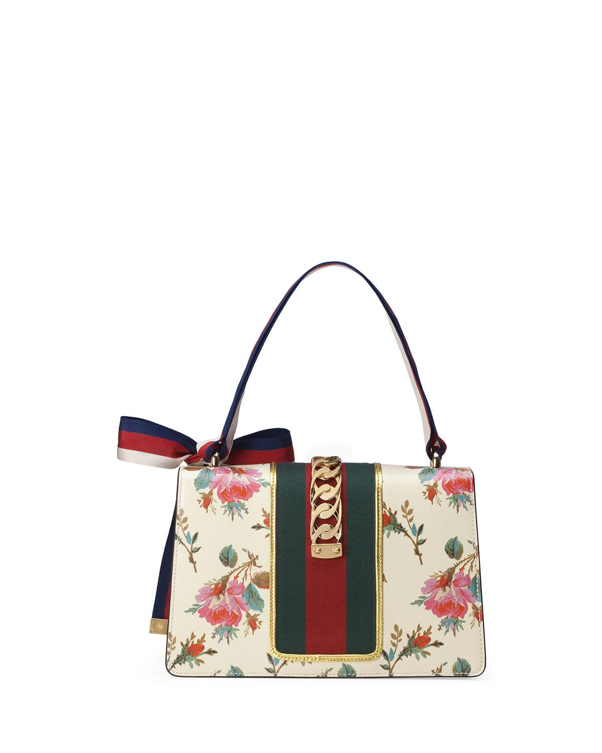 9ffc5fa94cd Lyst - Gucci Sylvie Small Rose Floral Leather Shoulder Bag in White