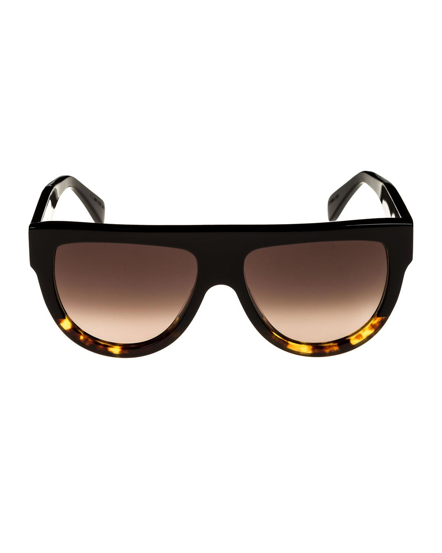 64fbbf573ba Lyst - Céline Flattop Two-tone Shield Sunglasses in Brown
